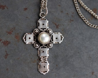 Gothic Cross Necklace - Sterling Silver Crucifix Pendant and Chain