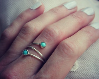 Turquoise ring, Sterling silver ring, stacking ring, midi ring, stackable ring, wrap ring