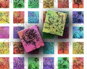 INSTANT DOWNLOAD Digital Art Colorful Flowers Blooms Floral Nature Digital Images Collage Sheet for Scrabble Pendants .75 x .875 Inch (S14)