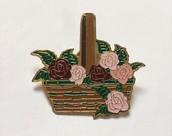 lg basket of roses vintage enamel pin