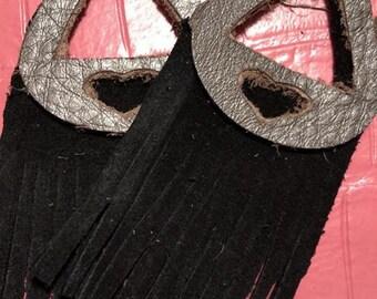 Black & Silver Fringe Earrings