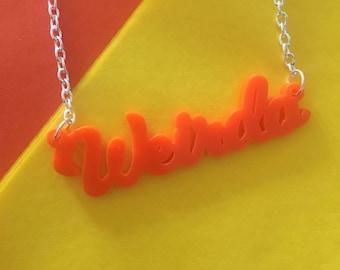 Orange Weirdo Acrylic Necklace