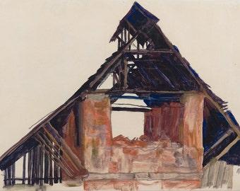 Egon Schiele: Old Gable. Fine Art Print/Poster. (003699)