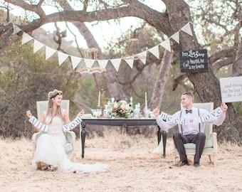 Boho wedding, ivory fabric bunting, wedding garland