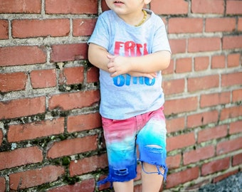 Boys True Blue Bomb Pops distressed Shorts 4th of July outfit/patriotic shorts