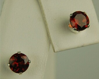 Memorial Day Sale Garnet Stud Earrings Sterling Silver 5mm Round 1.20ctw Natural Untreated