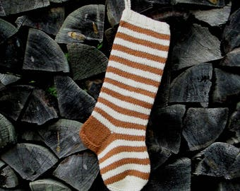 """Knit Christmas Stockings ~22"""" Personalized Hand knit Wool Striped stockings Brown with White stripes"""