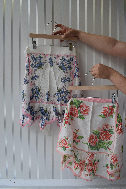 Vintage Apron, Blue Floral Fabric, Pink Roses, Vintage Pastel, Frilly,