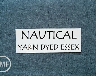 24 Inch End of Bolt Remnant NAUTICAL Yarn Dyed Essex, Linen and Cotton Blend Fabric from Robert Kaufman, E064-412