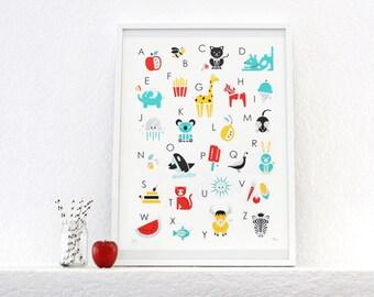 SALE! Alphabet Print, Poster, Screenprint, Nursery Art, Kids Room