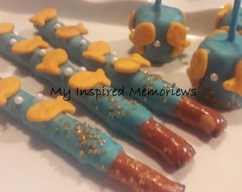Under the sea pretzels, under the sea fish pretzels, under the sea marshmallows