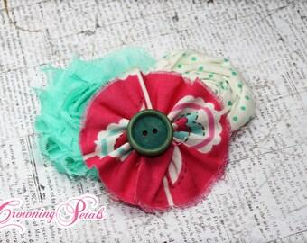Mint Green, Magenta, Pink Hair Bows, Hair Accessory, Fabric Flower Headband, Hair Clips, Baby Girl Headband, Fabric Flower Brooch