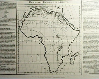 Engraving XVIII Century Africa Old Map Print Reproduction