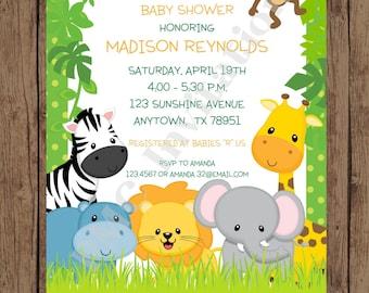 Custom Printed Wild Animals, Jungle, Safari Baby Shower Invitations - 1.00 each with envelope