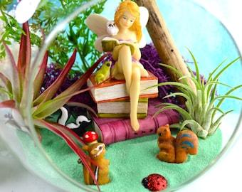 """Reading Fairy Terrarium Kit ~ 7"""" Air Plant Terrarium Kit ~ Fairy and Friends ~ Find 6 little Critters in this Terrarium ~ Fairy ~ Gift Idea"""