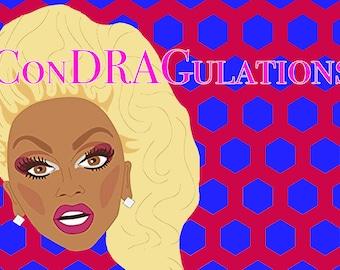 RuPaul 'ConDRAGulations' Gay Greetings Card