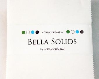 SPRING SALE - Charm Pack - Bella Solids White - Moda Fabrics - Color SKU 9900 98