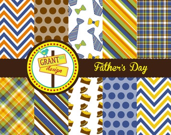 Father's Day Digital Papers - Backgrounds for Invitations, Card Design, Scrapbooking, and Web Design
