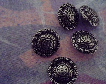 Set of 5 Vintage silver plated 15 mm buttons