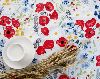 Linen tablecloth poppy meadow Eco Friendly , also napkins , table runner , placemats , pillows , curtains available, eco GIFT
