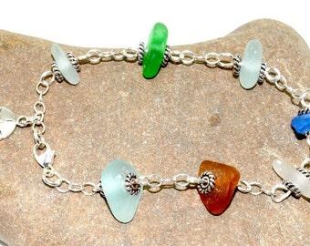 Sand Dollar Charm Bracelet, Beach Bracelet, Sea Glass Bracelet, Sea Glass Jewelry, Beach Gift, Lake Erie Beach Glass, Jewelry Gift For Mom