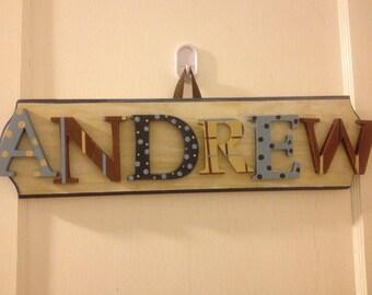 Custom Boys Name Sign - Nursery Wall Letters Name Sign - Custom Hand Painted Boys Name Sign 6 Letters