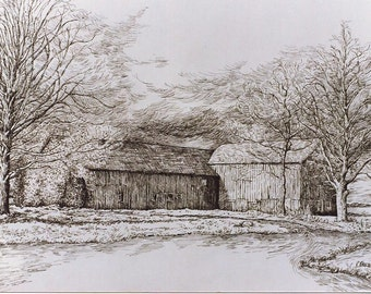"""Pen and Ink Drawing PRINTof Original Pen Drawing,Landscape,Old Barn,Countryscape,""""At The Crossroads""""Clouds,Realistic Drawing,Room Wall Decor"""