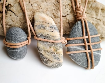 You are my rock, natural aegean raw stone necklace for him, mens mediterranean beach pebble pendant, father husband boyfriend gift, organic