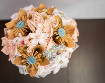 Bridal bouquet original vintage fabric flowers and origami
