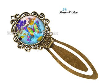 """Bookmark """"Butterfly Magic"""" blue and bronze cabochon glass costume jewelry"""