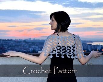 CROCHET PATTERN - Twist and Shout Crochet Poncho Pattern Unusual Capelet I-cord Women Open Work Wrap Tutorial Zig Zag Cape PDF - P0041