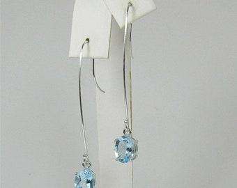 Memorial Day Sale Sky Blue Topaz 9x7mm 4.50ctw Sterling Silver Dangle Earrings