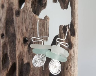 Seaglass stacked earrings/suatainable jeweley/eco-friendly fashion/mothers day gift/birthday/silver plated/one of a kind