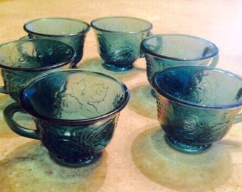 Reduced! Indiana Blue Carnival Glass (set of six)
