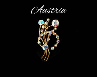 AUSTRIA Aurora Borealis Rhinestone Brooch, Blue AB Flower Brooch, Bridal Bouquet, Lapel Hair Jewelry, Gift For Her, Gift for Teen