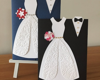 Wedding Day Card, wedding card, 3D card, bride and groom card, congratulations on your wedding, bridal shower card, suit card, marriage card