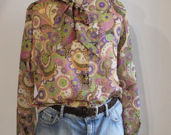 Psyche print blouse hippie in excellent condition