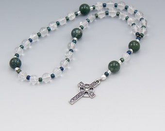Celtic Prayer Beads - Quartz Crystal with Green Agate - Anglican Rosary - Item # 754