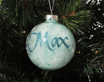 Blue Feather Glass Personalised Christmas Decoration