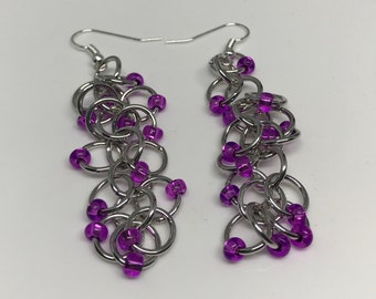 Silver and Purple Beaded Shaggy Loops Chainmaille Dangle Earrings