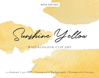 Yellow Watercolour Clip Art, Watercolour Splashes Clip Art, Watercolour Splotches Clip Art, Yellow Clipart, Yellow Clip Art, Scrapbooking