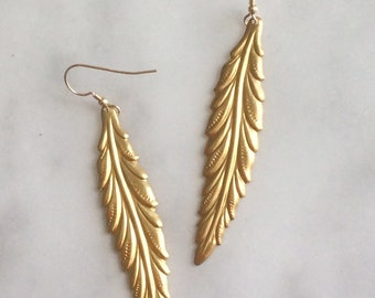 Oversized Gold Feather Earrings