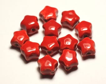 6PC - 16mm bright red - 8741140017313 stars porcelain ceramic beads