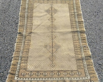 "Antique Tribal Worn and Weathered Persian Oriental Rug 4' by 5'11"" Brown Tan and Cream White Rustic Deor"