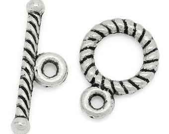 8 Twist Toggle Clasps in Silver