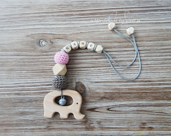 "Maxi Cosi pendant ""Elephant"", with name, crochet"