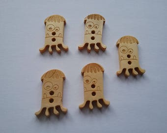 5 buttons 16x23mm monsters wood No. 83