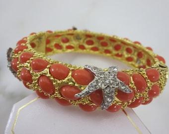 Starfish Bracelet -  Clamper Bangle, Costume Jewelry, Coral Orange Stones Chunky, Beach Jewelry