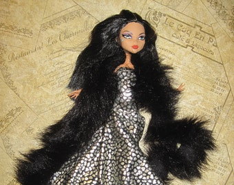 Monster High Silver Black Doll Gown with Black Boa