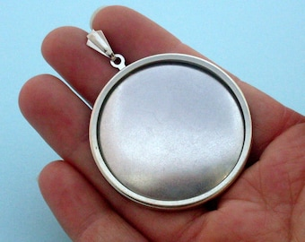 DIY Silver Round Pendant 209S embroidery cross-stitch handmade gift supplies 43mm